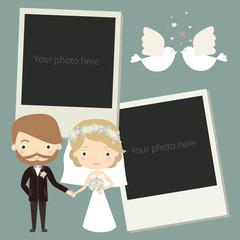 Photo Frame for wedding album. Vector illustration of brides