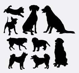 Dog pet animal silhouette 07. Good use for symbol, logo, web icon, mascot, sign, sticker design, or any design you wany. Easy to use.