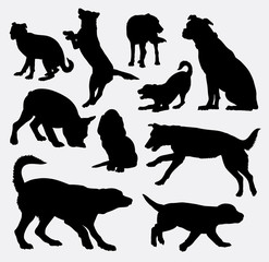 Dog pet animal silhouette 09. Good use for symbol, logo, web icon, mascot, sign, sticker design, or any design you wany. Easy to use.
