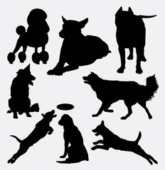 Dog pet animal silhouette 14. Good use for symbol, logo, web icon, mascot, sign, sticker design, or any design you wany. Easy to use.