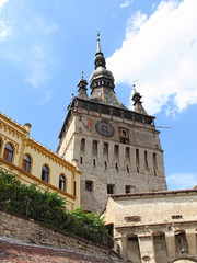 clock tower of the city from the medieval period,Romania