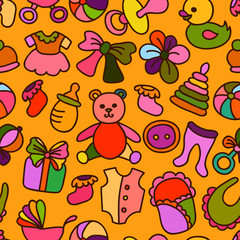 Baby Toys and Elements Seamless Pattern