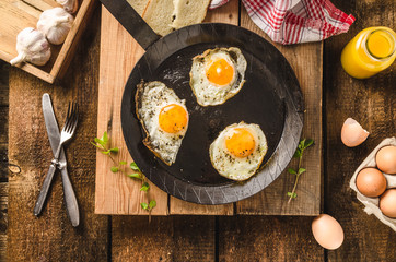 Aluminium Prints Egg Eggs fried rustic style