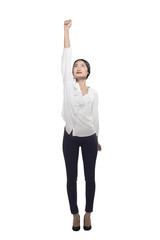 Asian business woman flying