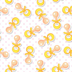 Baby Seamless Pattern with Yellow Soother