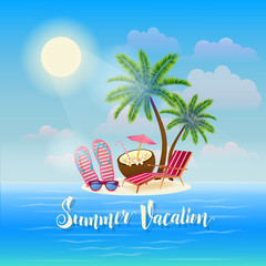 Summer Beach Vacation Banner. Exotic Tropical Island with Palm Trees