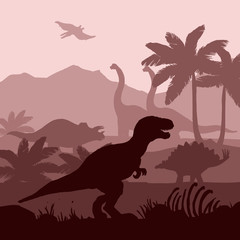 Dinosaurs silhouettes layers background banner illustration.