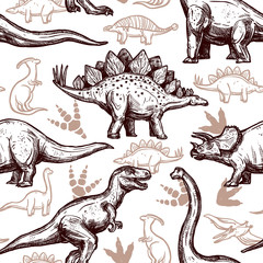 Dinosaurs footprints seamless pattern two-color doodle
