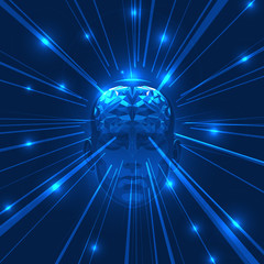 Abstract Human Head Brain with Light Rays.