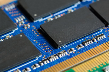 Close up of RAM Computer Memory Chip Modul