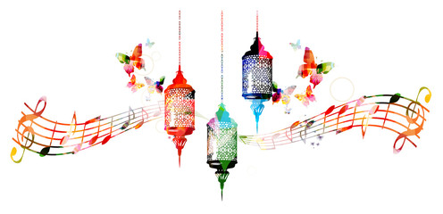 Colorful lamps for Ramadan with music notes