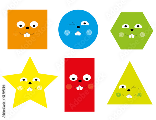 """Set Of Cartoon Childrens Faces Stock Vector Art More: """"Learning Set Of Funny Basic Geometric Smiling Cartoon"""