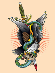 eagle and snake tattoo color