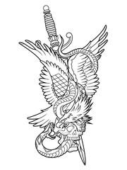 eagle and snake tattoo outline