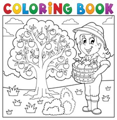 Coloring book girl with collected apples