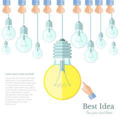 many lamp or lightbulb light off and only one light on Idea flat background