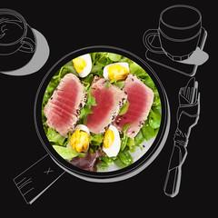 Delicious tuna steak with salad.