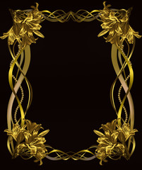 black background with frame of Golden lilies