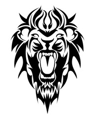 Lion's Head in the form of a stylized tattoo