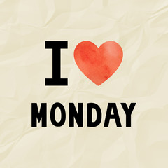 Love Monday on crinkle paper