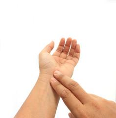human hand checking himself the pulse