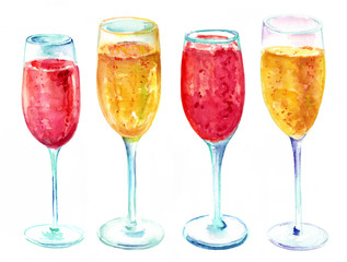 Watercolor drawing of four glasses of pink and golden champagne