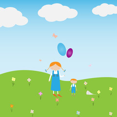 children play on the green lawn on a background of blue sky