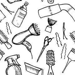 Hand drawn illustration - Hairdressing tools. Pattern