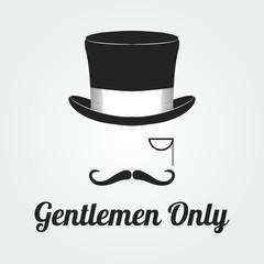 Vintage gentleman emblems, labels, badges and designed elements. Monochrome style. vector. hat, mustache.