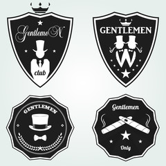 Set Vintage gentleman emblems, labels, badges and designed elements. Monochrome style. vector