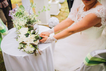 Stylish Wedding bouquet of different flowers
