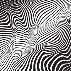 optical art background wave design black and white