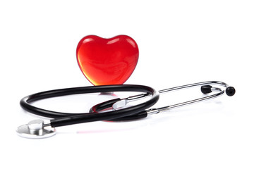 Red heart and a stethoscope.  Health concept. medical concept