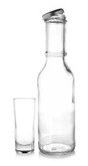 Empty bottle and Empty glass on white