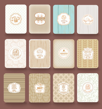 Set of retro bakery labels, ribbons and cards for vintage design, old paper textures.vector