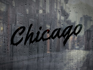 Chicago written on a foggy window