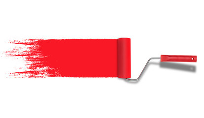 Roller painter with red paint stroke isolated on white background.