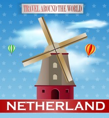 Vintage Netheland Travel vacation poster