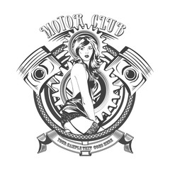 Vintage Motor Club Signs and Label with a beautiful woman. Vector illustration
