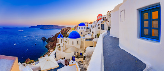 Self adhesive Wall Murals Santorini Santorini, Greece - Oia at sunset, panorama