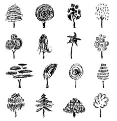 Trees collection, sketch for your design. Hand drawn illustration