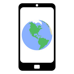 Flat design smartphone with the Earth on a screen with a white background. No transparency, no blending.