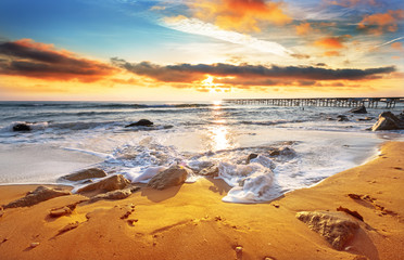 Nice hot sunset over sea.