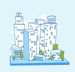 Illustration of city buildings silhouettes and colors