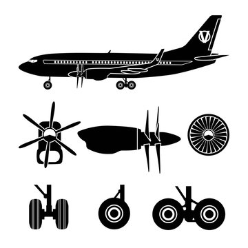 Jets constructor. Black silhouettes aircraft parts. Collection o
