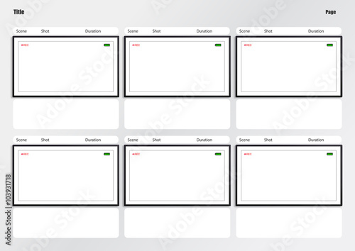 Camera Viewfinder Storyboard Template 6 Frame Stock Photo And