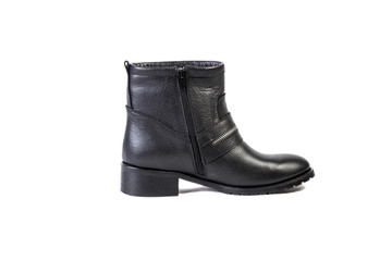 Spring leather boots on a white background, women's Italian leather shoes