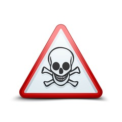 Skull triangle hazard sign