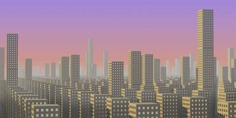 a giant endless megalopolis is in morning fog