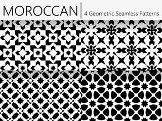 Set of 4 Moroccan Vintage Seamless Patterns